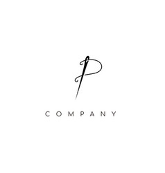 simple initial p with thread and needle vector image
