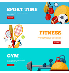 Sport time flat web banners templates set vector
