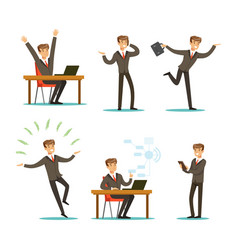 successful businessman working in office set boss vector image