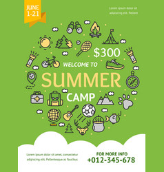 summer camp concept banner card with color thin vector image