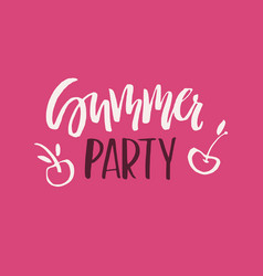 summer party lettering vector image