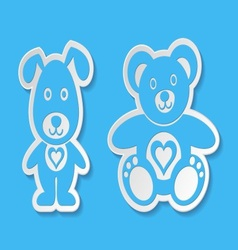 Teddy bear and dog vector