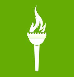 Torch icon green vector