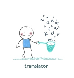 Translator catches a fish net letters vector