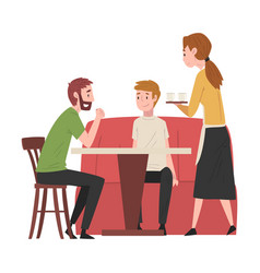 two male friends sitting at table in cafe and vector image