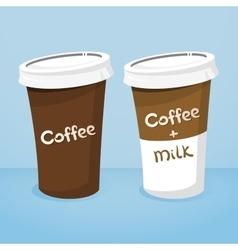 Two plastic cups with coffee vector image