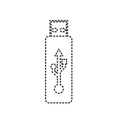 usb flash drive sign black dashed vector image