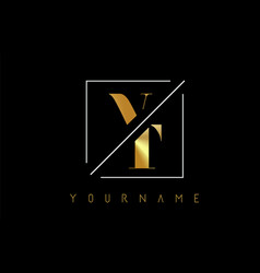 vt golden letter logo with cutted and intersected vector image