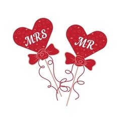 Wedding hearts MR and MRS on a stick vector