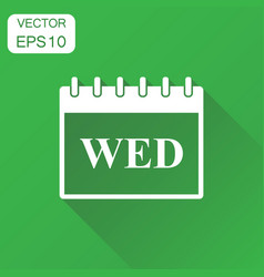 wednesday calendar page icon business concept vector image