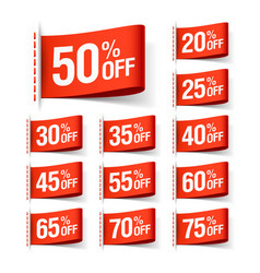 white discount sale labels vector image
