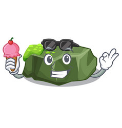 With ice cream cartoon moss grow on sea rock vector