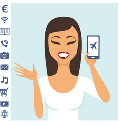young girl character showing smartphone with icons vector image