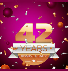 Forty two years anniversary celebration design vector