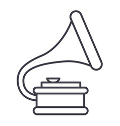 gramophone line icon sign vector image vector image