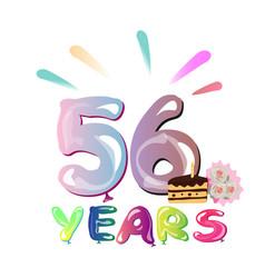happy birthday 56 years vector image vector image