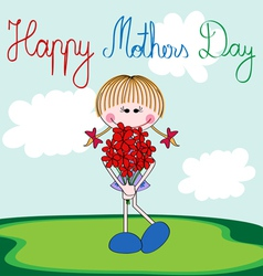 Happy Mothers Day card with cartoon girl vector image vector image