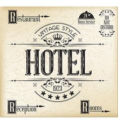 Hotel typography vector image vector image