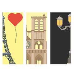 paris icons famous love travel cuisine vector image