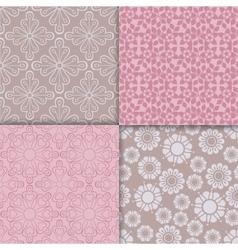 Romantic style pink pattern set vector image
