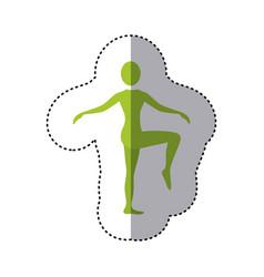 sticker green silhouette woman standing bending vector image