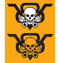 V8 Engine Emblem with Skull and Pistons vector image