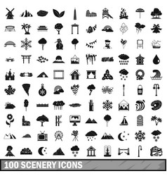 100 scenery icons set simple style vector image