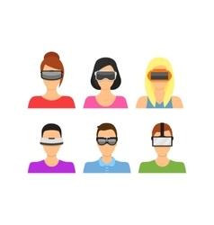 Cartoon Virtual Reality Glasses Avatars Set vector image vector image