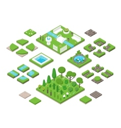 Landscaping isometric 3d garden design elements vector image