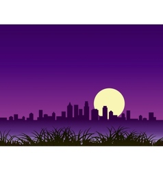 night city silhouette with moon vector image vector image