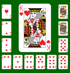 playing cards suit hearts vector image