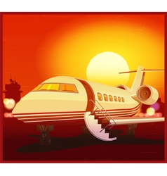 Private aviation and sunset vector