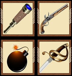 Icons pirate ammunition vector
