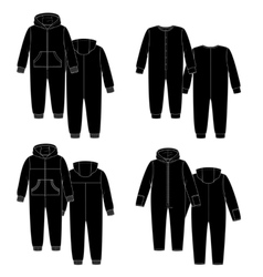 sketch Four overalls vector image vector image