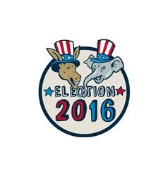US Election 2016 Mascot Donkey Elephant Circle vector image