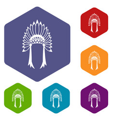 indian headdress icons set vector image vector image