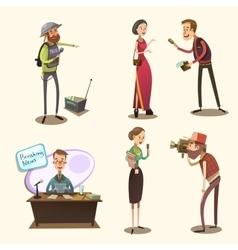 Journalist retro cartoon set vector image vector image