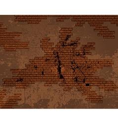 old shabby cracked brick wall vector image