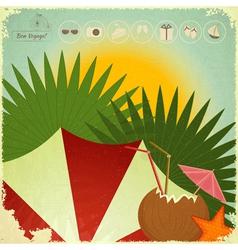 Summer Beach Card in retro Style vector image