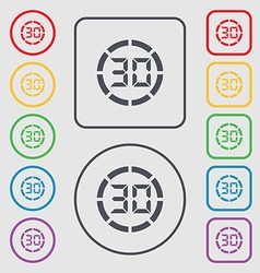 30 second stopwatch icon sign Symbols on the Round vector image