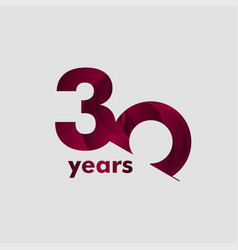 30 year anniversary elegant number template design vector