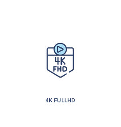 4k fullhd concept 2 colored icon simple line vector