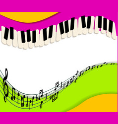 abstract music background rainbow paper and piano vector image