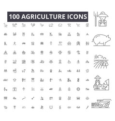 agriculture editable line icons 100 set on vector image
