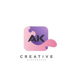 Ak initial letter logo icon design template vector