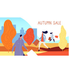 autumn people shopping city characters person vector image