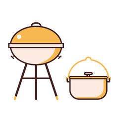 barbecue grill and bbq pot line icons vector image