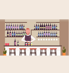 Bartender using shaker making cocktails barman in vector