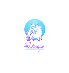 be unique little cute unicorn and line vector image