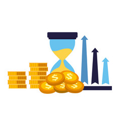 Business clock arrows stack money vector